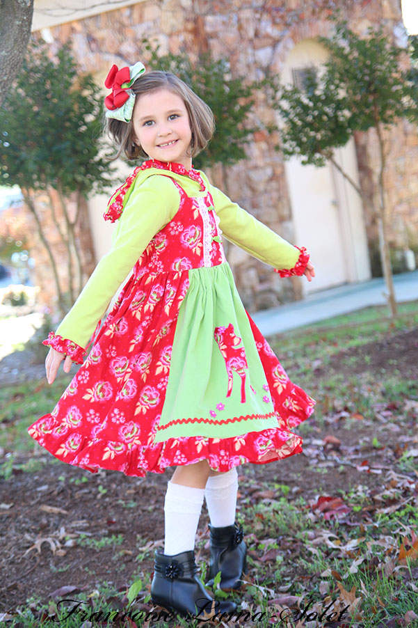 Girl's fall winter Christmas red green flower applique corduroy apron twirl dress Dancing Deer