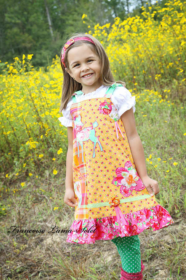 Girl's orange pink artsy applique school ruffled jumper dress Deer Garden