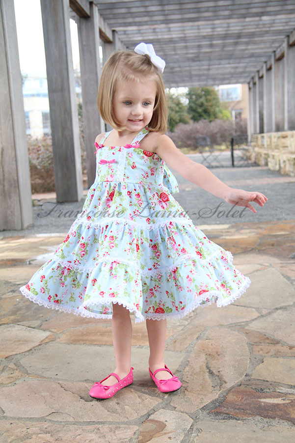Girl's blue tea party birthday romantic shabby chic twirl dress Delilah Blue
