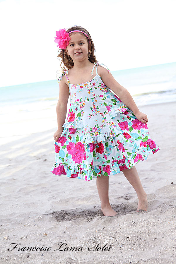 Girl's spring summer floral ruffled twirl sundress Farandole