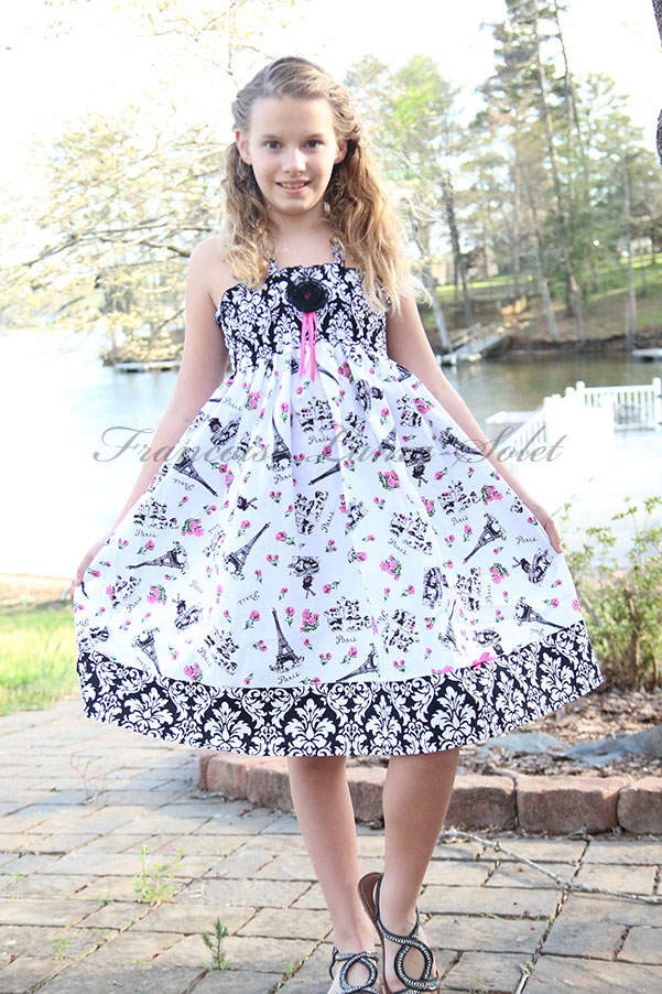Girl's Paris Eiffel Tower black white pink formal dress with doll dress Fleur de Paris