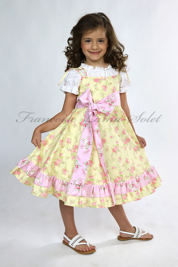 Fleurs yellow pink girls ruffled easter dress birthday flower girl