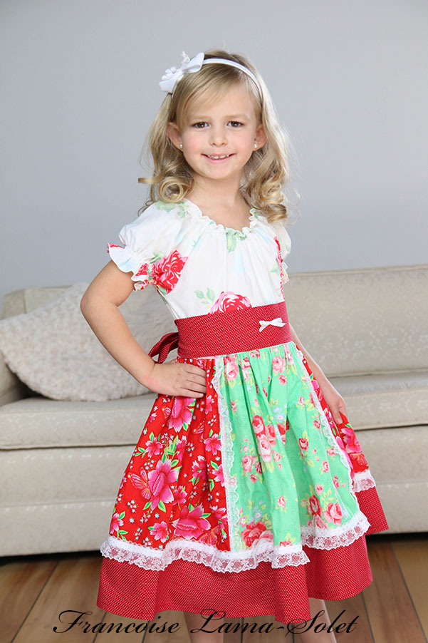 Girl's casual everyday dress red white green peasant dress Flowers for Christmas