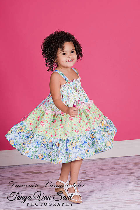 Girl's spring summer blue green floral patchwork tiered twirl halter dress Fresh Bouquet