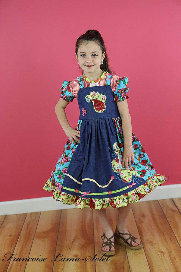 Girl's year round denim cotton floral appliqued apron ruffled twirl dress Happy Land