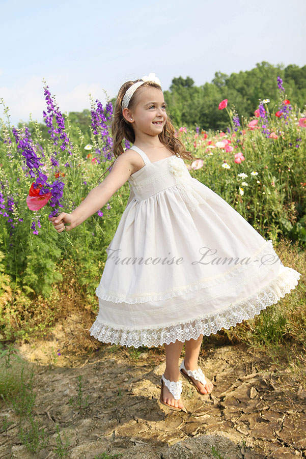 Girl's formal flower girl church ivory white organic linen lace twirl dress Ivory Rose