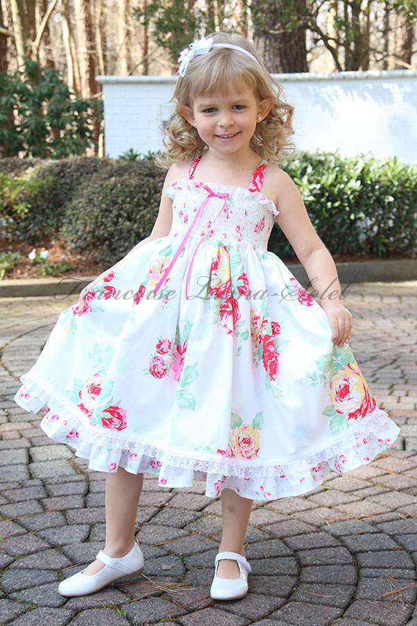 Girl's birthday Easter tea party romantic white pink floral twirl sundress Jardin de Roses