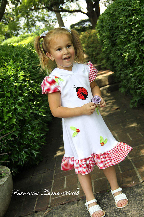 Girl's birthday white red puff sleeve applique ruffled pixie hood dress Miss Ladybug