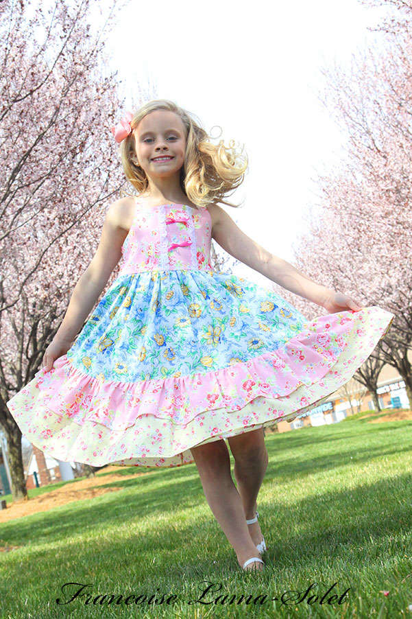 Girl spring summer Easter birthday floral apron twirl dress with doll dress Lilly