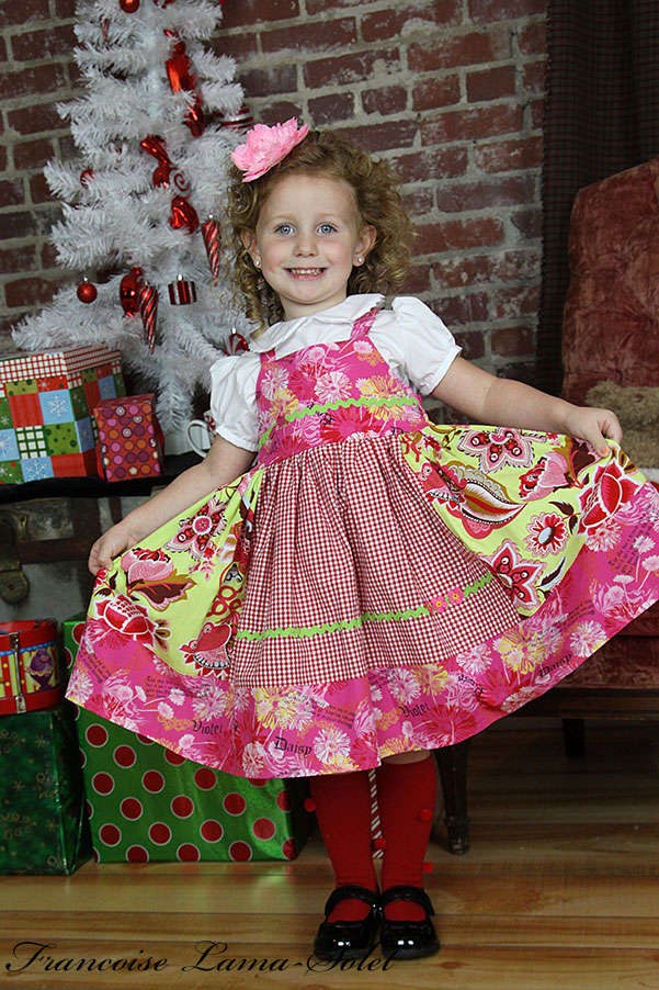 Girl's colorful green pink red everyday apron twirl dress Menthe Grenadine