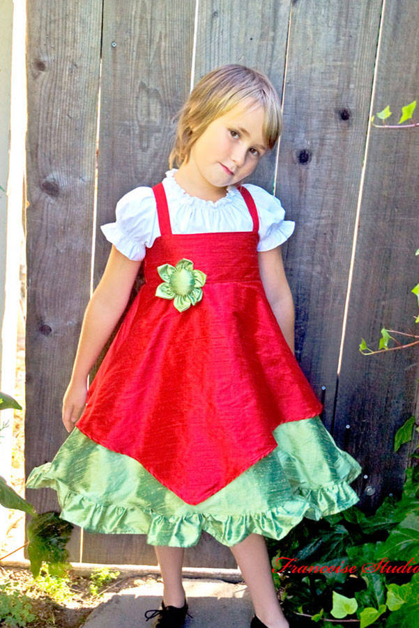 Girl's Christmas holiday silk red green asymmetrical ruffled twirl dress Merry Belle