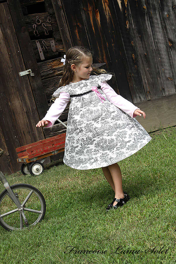 Girl's seasonless black and white toile twirl dress Paris Chic Manon