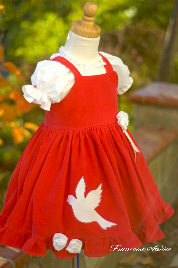 Girl's Christmas holiday dove applique ruffled red white corduroy apron dress Peace