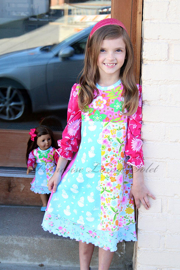 Girl's patchwork long sleeve floral puff sleeve a-line jersey dress Princess Day