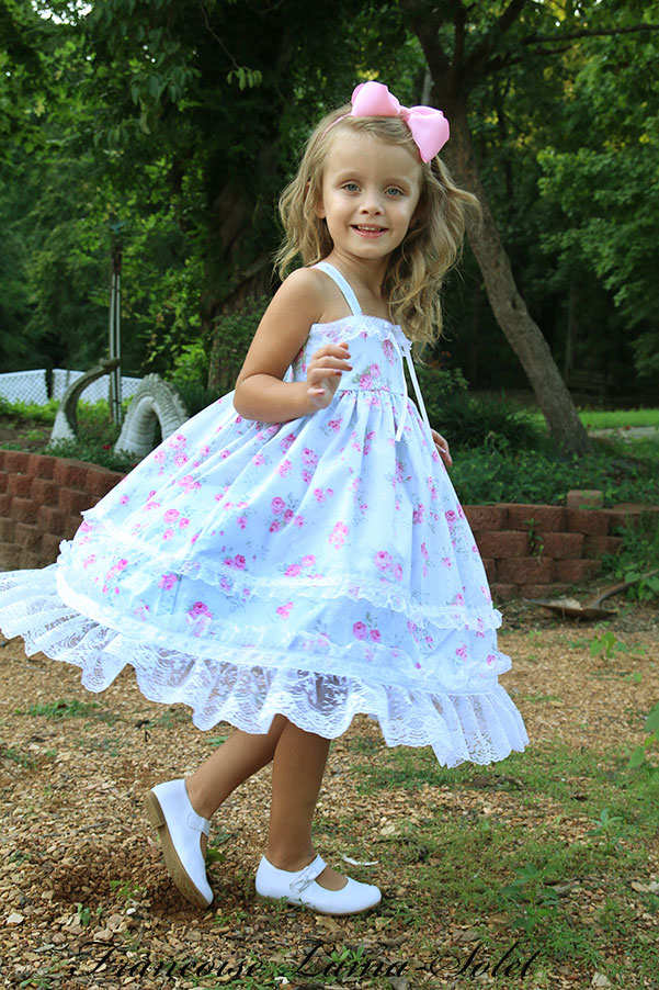 Flower girl birthday tea party shabby chic lace trimmed sister floral dress Romantic Roses Blue