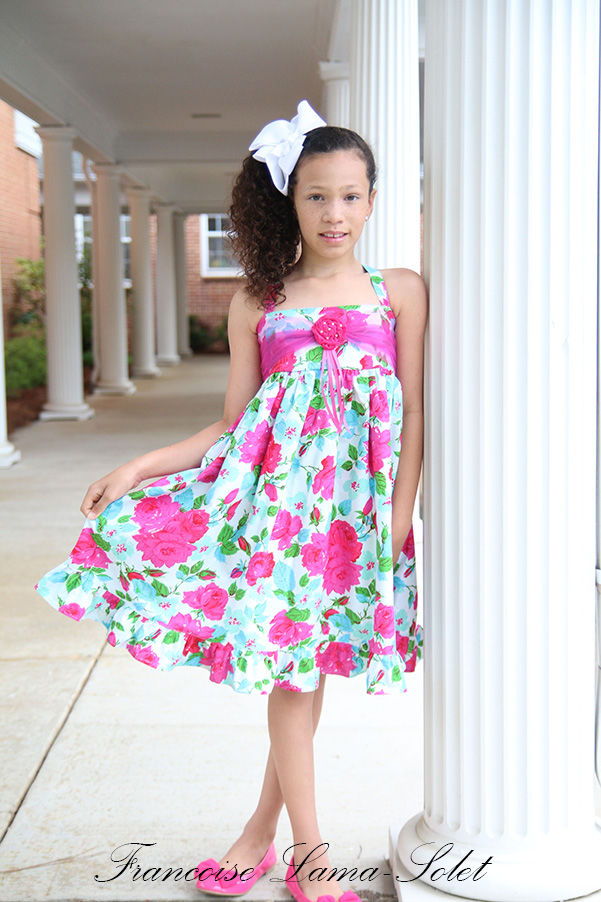 Girl's formal blue rose ruffled dress flower girl wedding Easter birthday Church twirl sundress Rosabella