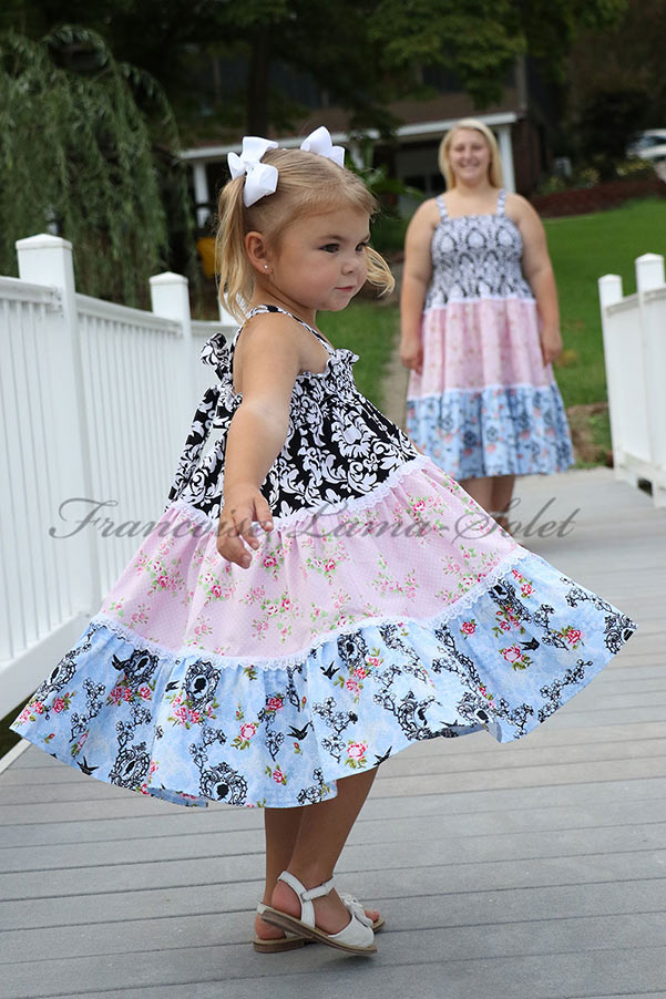 Patchwork country style tiered sundress handmade with pink, blue and black floral and damask cotton prints - Rosalie
