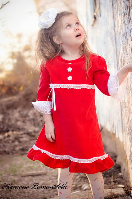 Girl's Holiday Christmas red long sleeve white lace a-line ruffled dress Scarlett