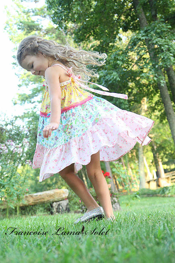 Girl's spring summer yellow blue pink floral patchwork tiered twirl halter dress Sorbet