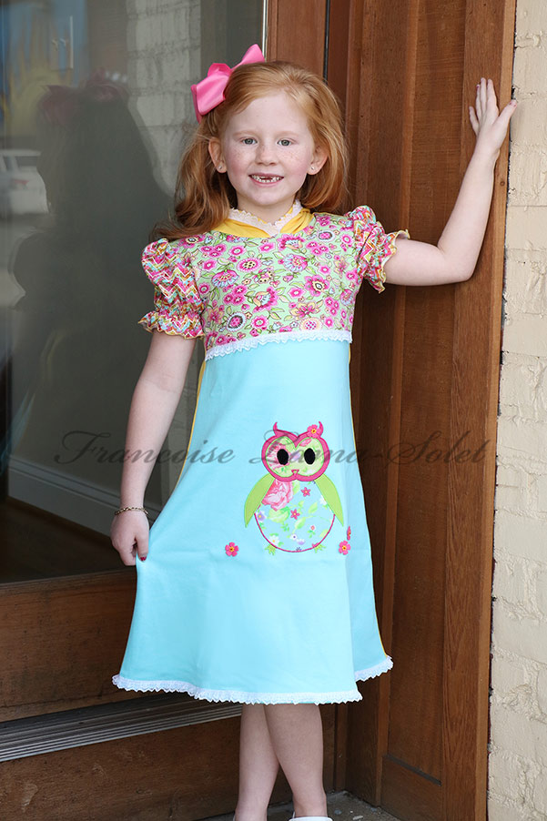 Short puff sleeve patchwork jersey hoodie dress handmade with colorful cotton jersey and applique – Spring Owl