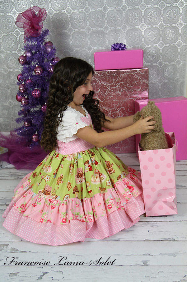 Girl's vintage christmas holiday birthday pink gingerbread apron twirl dress Sweet Ginger