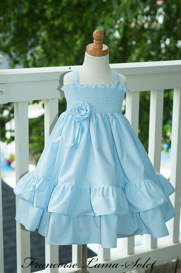 Girl's flower girl easter birthday portrait church blue ruffled twirl dress Sweet Grace