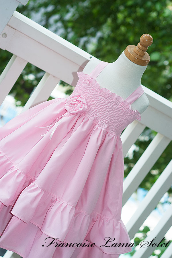 Girl's flower girl easter birthday portrait church pink ruffled twirl dress Sweet Grace