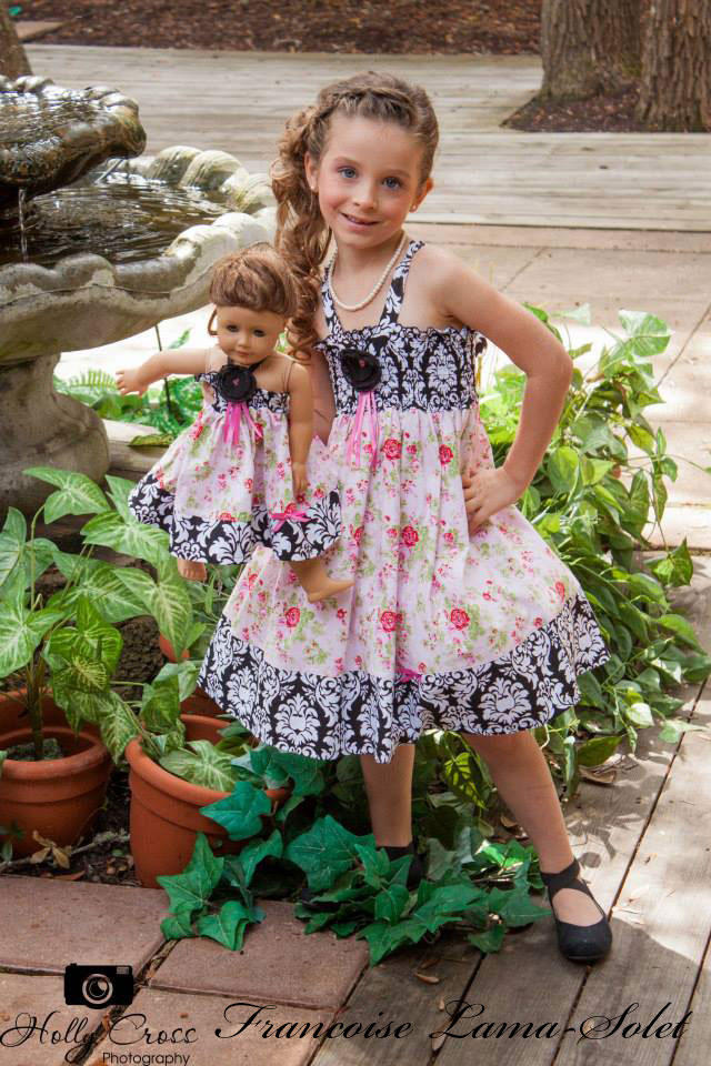 Girl's birthday tea party Easter Pink black white twirl dress with roses and damask Tea Party