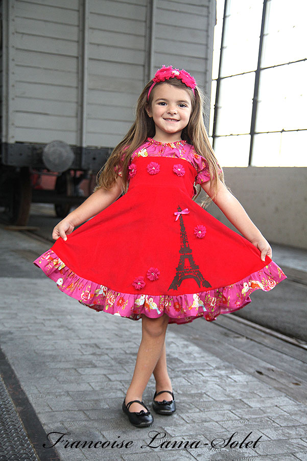 Girl's Paris holiday fall winter Eiffel Tower red corduroy twirl dress birthday Voyage Reagan