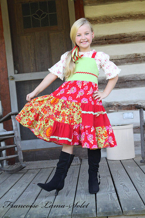 Girl's fall winter red green holiday Christmas corduroy patchwork apron twirl dress Winter Bouquet