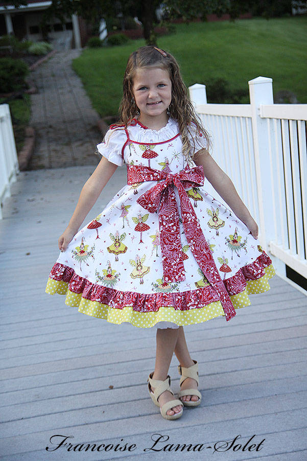 Girl's whimsical holiday Christmas white red green pixie ruffled twirl dress Winter Fairies