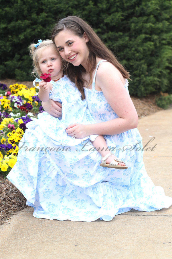 Romantic chic blue white floral mother daughter tiered sundress, spring summer mommy and me prairie style halter dress Blue Bouquets