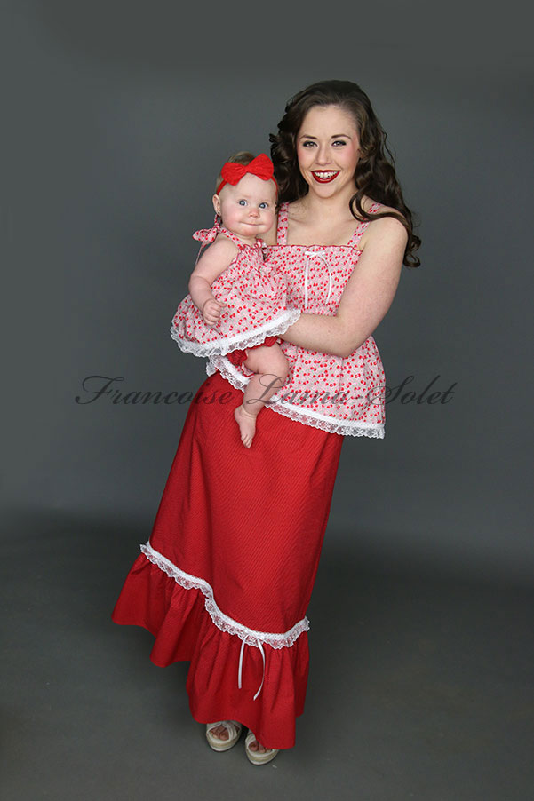 Mother daughter summer outfit retro gypsy boho red white polka dot maxi skirt red pink halter top Cherry