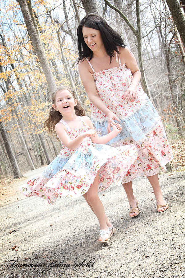 Mother and daughter prairie dresses mommy and me matching twirl tiered dress skirt Country Twirl