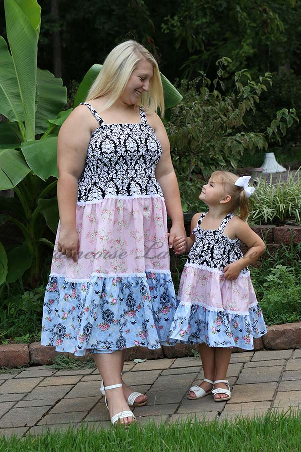 Mother daughter matching tiered sundresses handmade with pink, blue and black floral and damask cotton prints - Rosalie