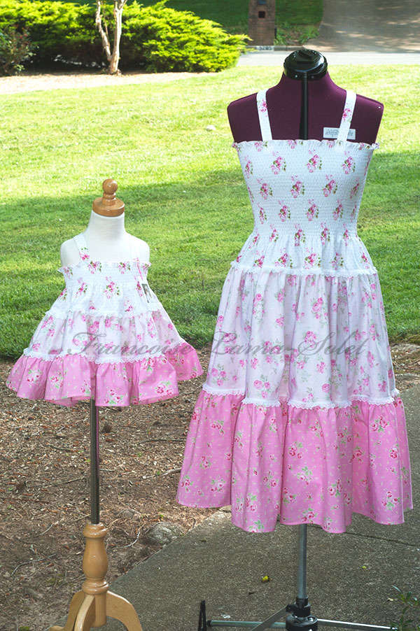 Floral pink white romantic chic gypsy boho mother daughter matching tiered prairie dress Sweet Rose