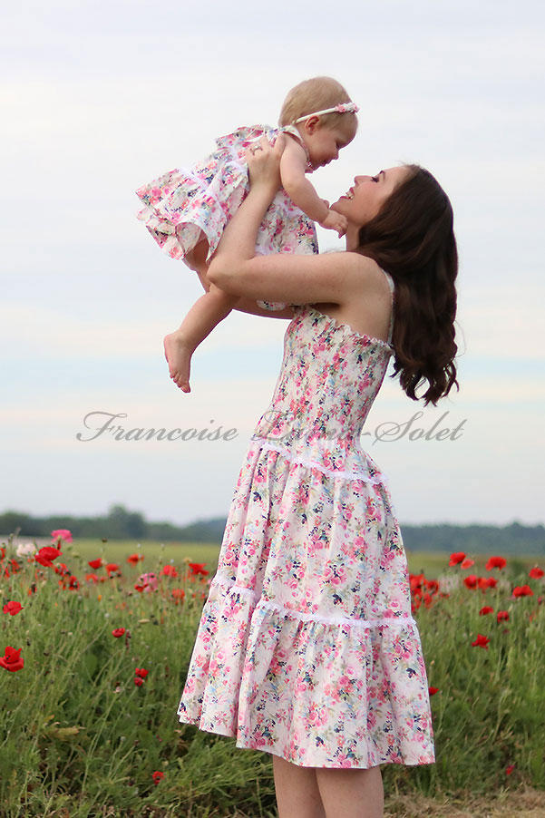 Romantic floral mother daughter tiered sundress, spring summer mommy and me prairie style halter dress, handmade cotton dress Wildflower Bouquet