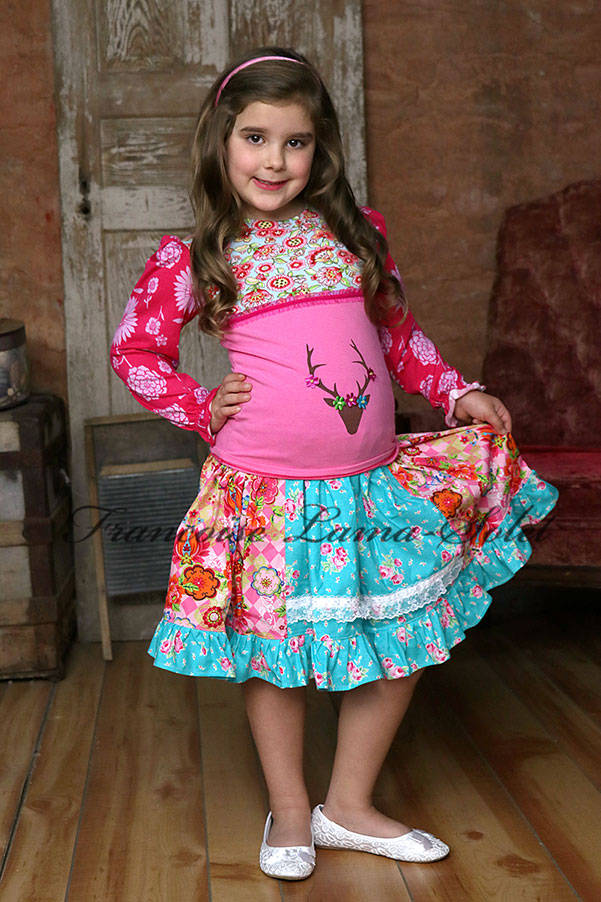 Girl's fall winter colorful pink blue long sleeve floral t-shirt printed with a deer head and ruffled twirl skirt Leanne