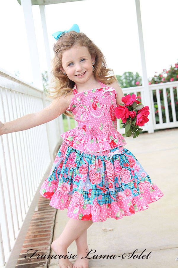 Girl's spring summer blue pink twirl skirt and halter top handmade with plaid and floral cotton Scottish Roses
