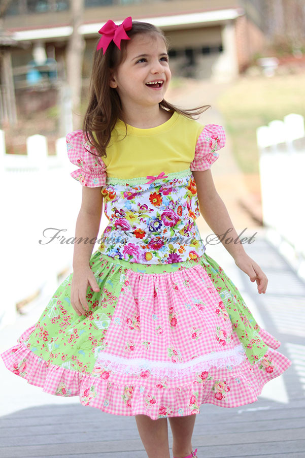 Girl's colorful floral yellow patchwork t-shirt with puff sleeves and twirl skirt Spring