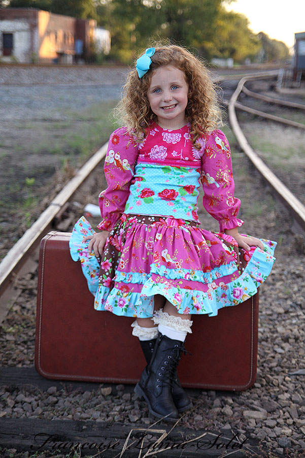 Girl's turquoise pink floral t-shirt with long puff sleeves and brown corduroy ruffled twirl skirt Voyage Sevyn