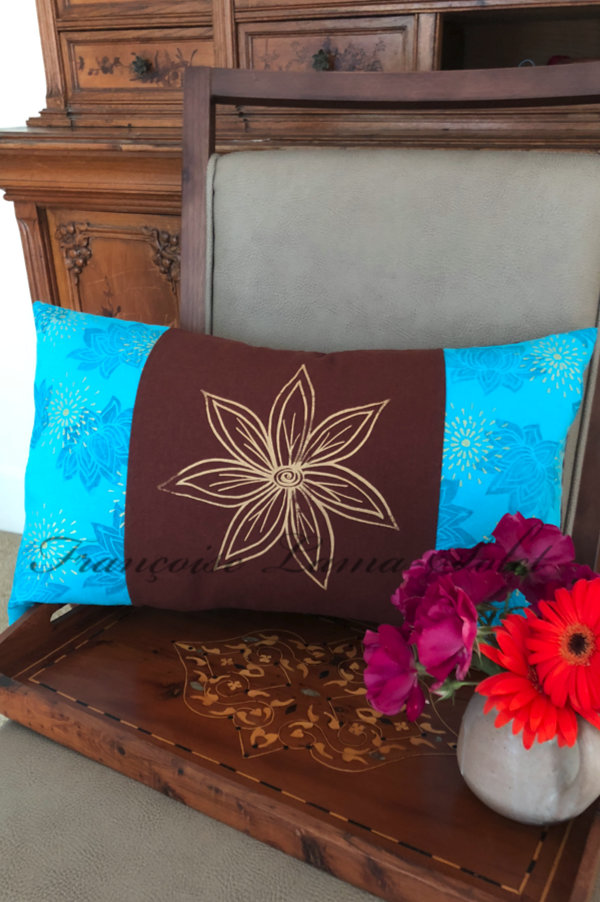 Double sided hand printed turquoise brown lotus flower artsy lumbar decorative designer pillow cover Gold Flower