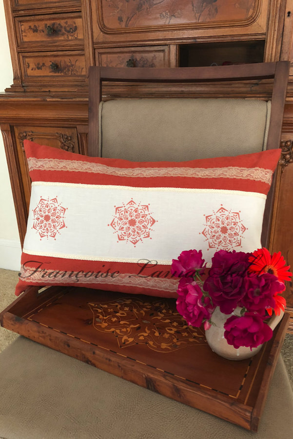 Fall winter rust orange ivory mandala artsy lumbar decorative designer pillow cover Inspiration from India