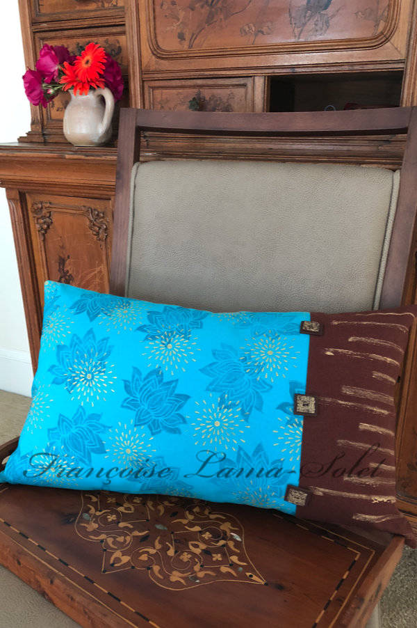 Double sided hand printed turquoise gold brown lotus flower stars artsy lumbar decorative designer pillow cover Lotus Stars
