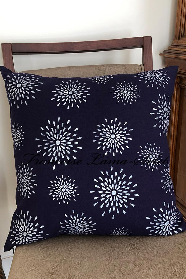 Navy blue pink decorative designer pillow cover 20x20 hand printed with metallic silver stars - Midnight Stars
