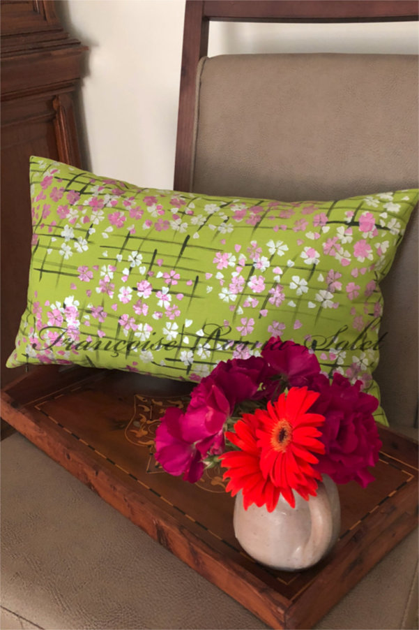 Colorful spring summer home decor lime pink artsy lumbar decorative designer pillow cover Spring Blossoms