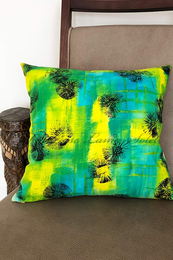Modern Yellow and Turquoise 16x16 inch designer pillow cover hand painted with an abstract print - Tribal Vibes
