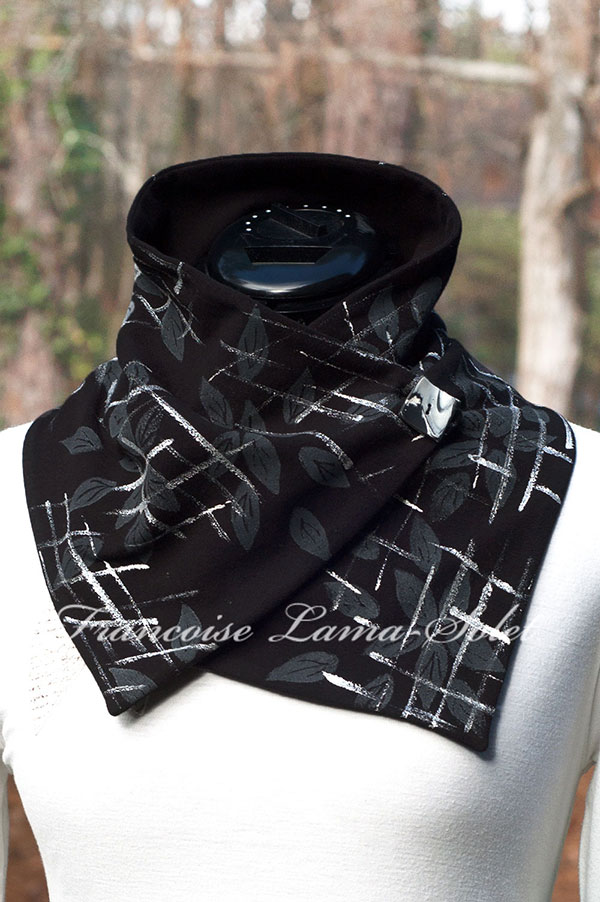 Artsy Hand Printed Abstract Leaf Pattern Black Cozy Winter Scarf Women