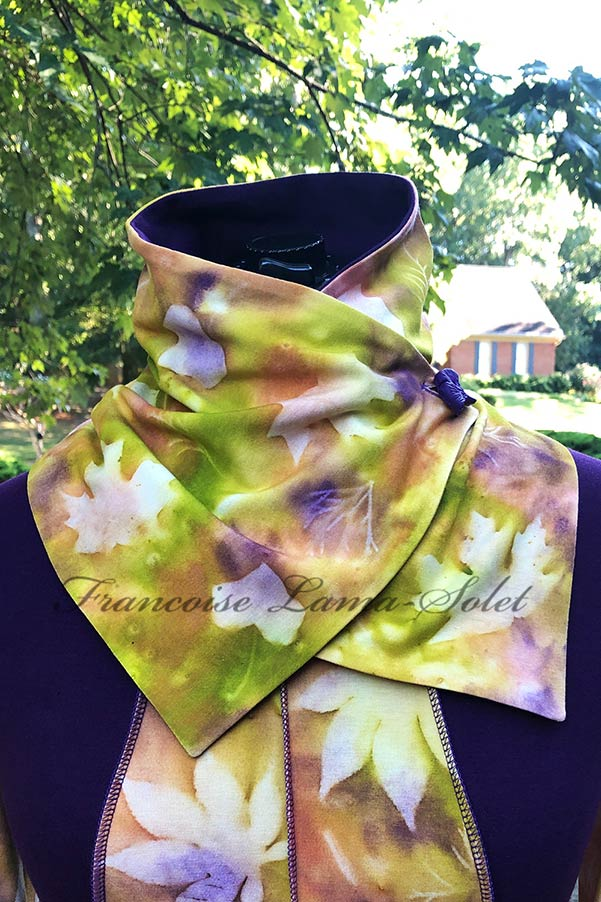 Women's one of a kind hand painted fall button neck warmer scarf in the shades cinnamon, green and purple with leaf print – Autumn Delight