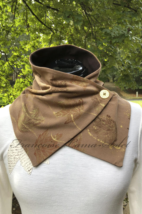 One of a kind neck warmer button scarf handmade with a light brown cotton lycra jersey and hand printed with fall leaves – Autumn Leaves